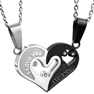 Couple Heart Shaped Necklace Set