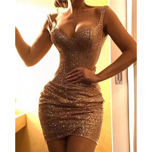 Glitter Spaghetti Strap Sequins Evening Dresses