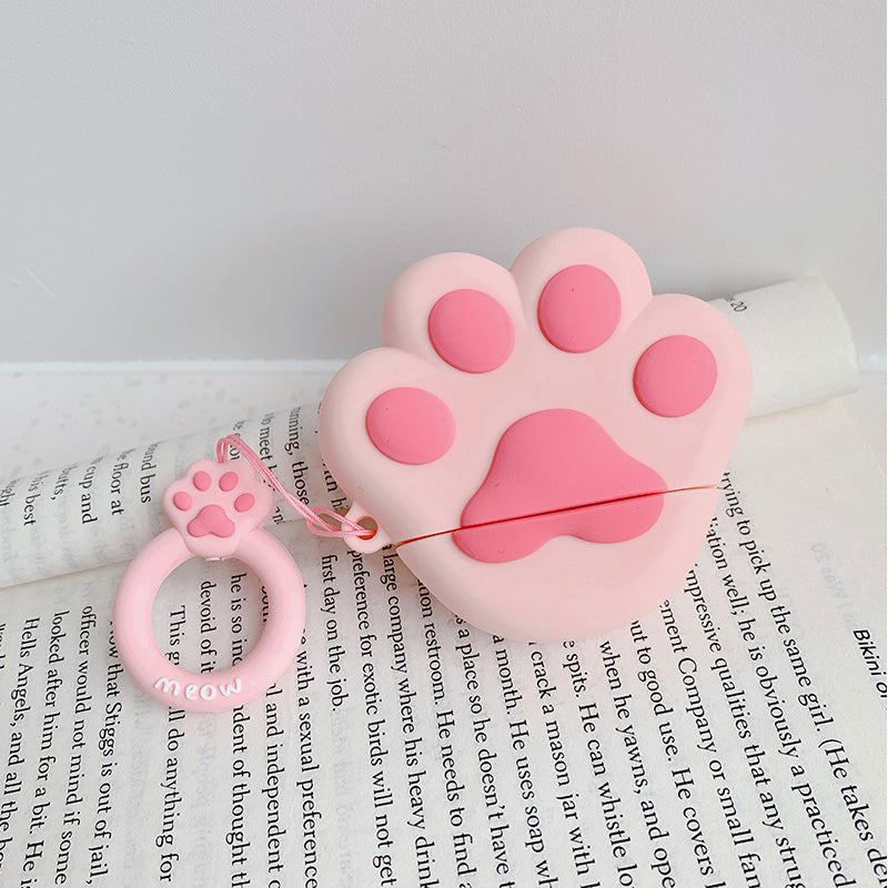 Airpods 3D pink cat paw silicone Bluetooth Wireless Earphone Case