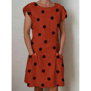 Women Polka Dot Crew Neck Dresses