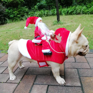 Pet Dog Santa Claus Riding A Deer Dog Dressed Up for Christmas