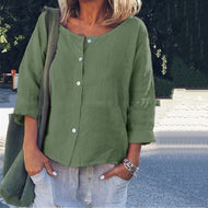 Solid Color Round Neck Casual Blouses
