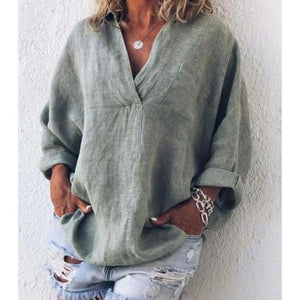 Solid Long Sleeve V Neck Blouses