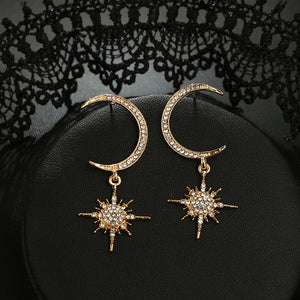 Crescent Star Diamond Earrings