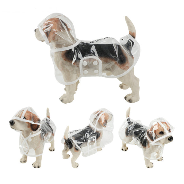1pc Waterproof Dog Raincoat with Hood Transparent