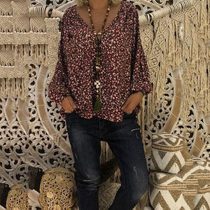 V-Neck Flower Printed Loose Casual Blouse