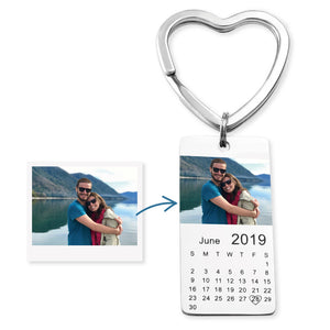 Stainless Steel Custom Photo Calendar Keychain