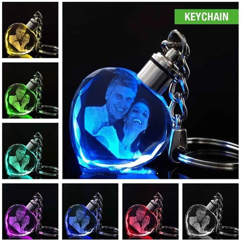 Laser Engraved Crystal Glass Keychain