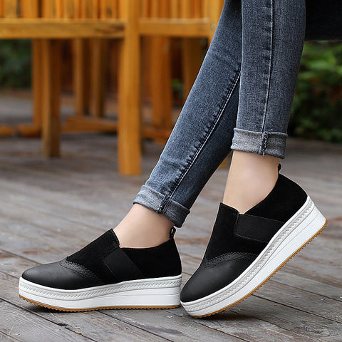 Autumn Flat Platform Loafers Slip On Casual Shoes