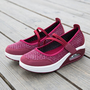 Women Resistant Shake Flats Soft Mesh Rocker Daily Shoes