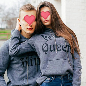 Lovely Gift - Gray King Queen Hoodies
