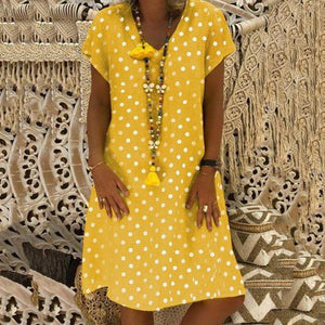Casual Plus Size Dot Printed Loose Dresses
