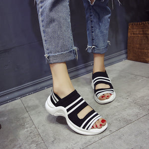 Preppy Style Elastic Fabric Slip-On Sandals