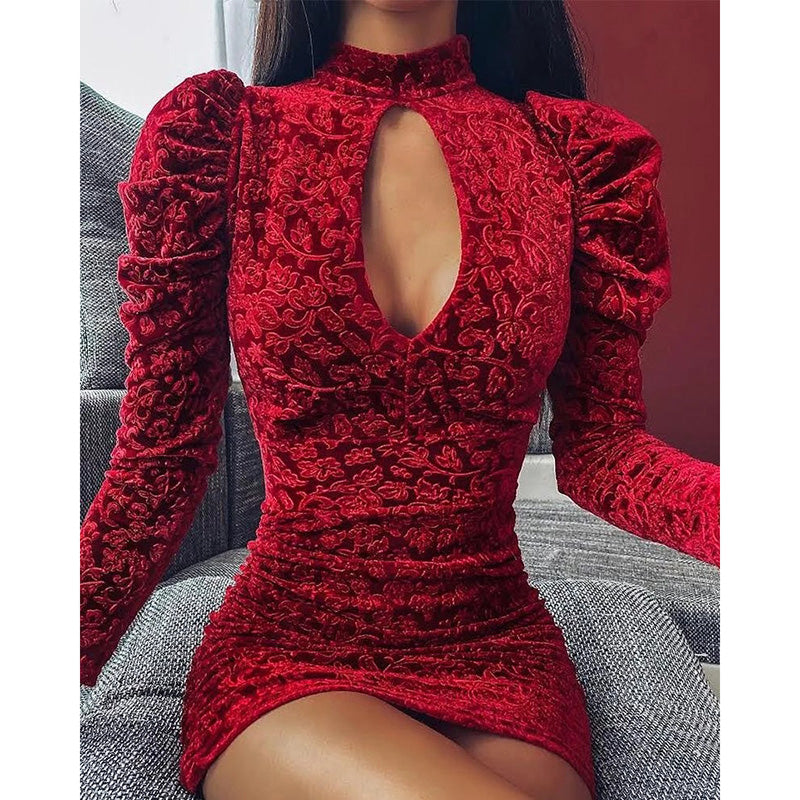 Storepink Mock Neck Embroidery Mini Dress