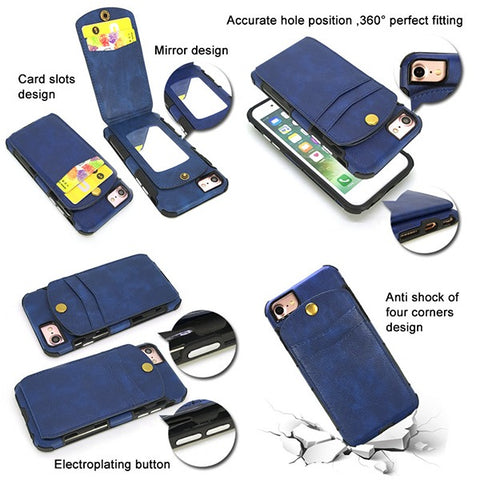 Convenience Card Slots Design Button Mirror Phone Case