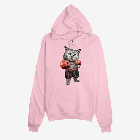 Cats Boxing Hooded Long Sleeve Sweatshirts