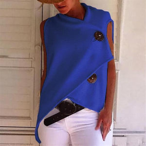 Irregular Solid Color Button Blouse