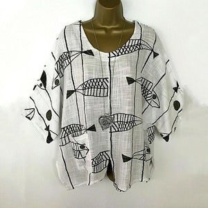Plus-Size Fish Printed Casual Blouse