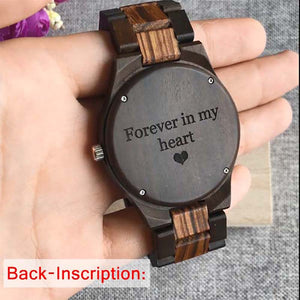 Custom Personalized Photo Ebony Watch