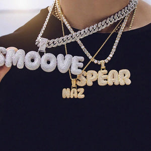 Custom Hip hop Bubble Letter Necklace