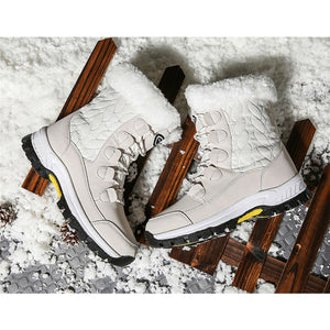 Waterproof Cloth Lace-Up Splicing Snow Boots