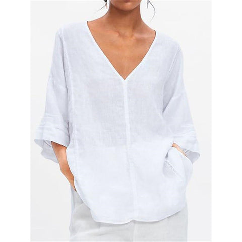 Casual Ruffled 3/4 Sleeve Women's Blouses
