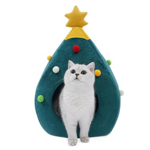 Christmas Tree Pet House Semi Closed Soft Kitty Bed