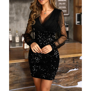 Sheer Mesh Sequin Patchwork Dresses