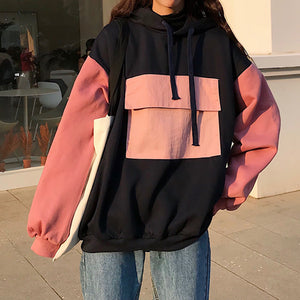 Colorblock Patchwork Pocket Casual Hoodies
