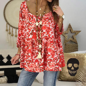 Women Plus Size Flower Printed Blouse