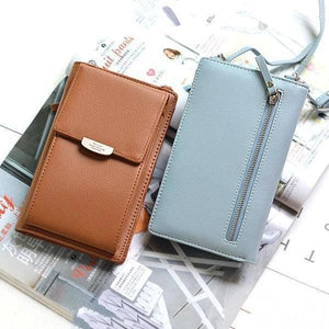 New PU Ladies Mobile Phone Bag Solid Color Shoulder Bag