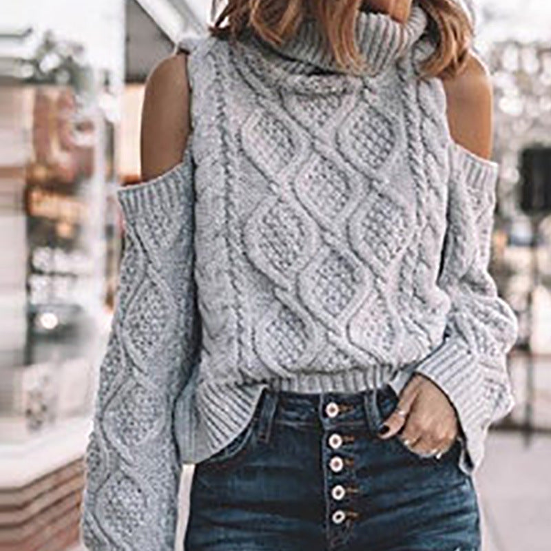 Casual Solid Color Turtleneck Off The Shoulder Overhead Sweater
