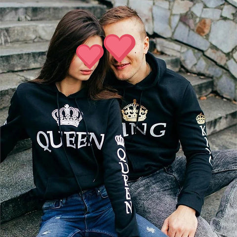 Lovely Gift - Black King Queen Hoodies