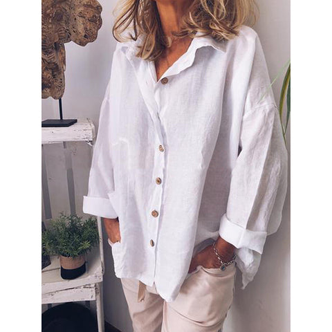 Casual Linen Long Sleeve Buttoned Blouses