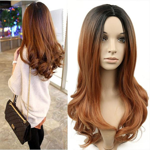 Fashion Curly Ombre Center Part Long Synthetic Wig