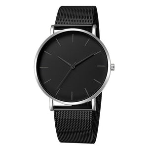 Minimalist  Men Luxury Ultra Thin Mesh Stainless Steel Fashion Quartz Wrist Watches