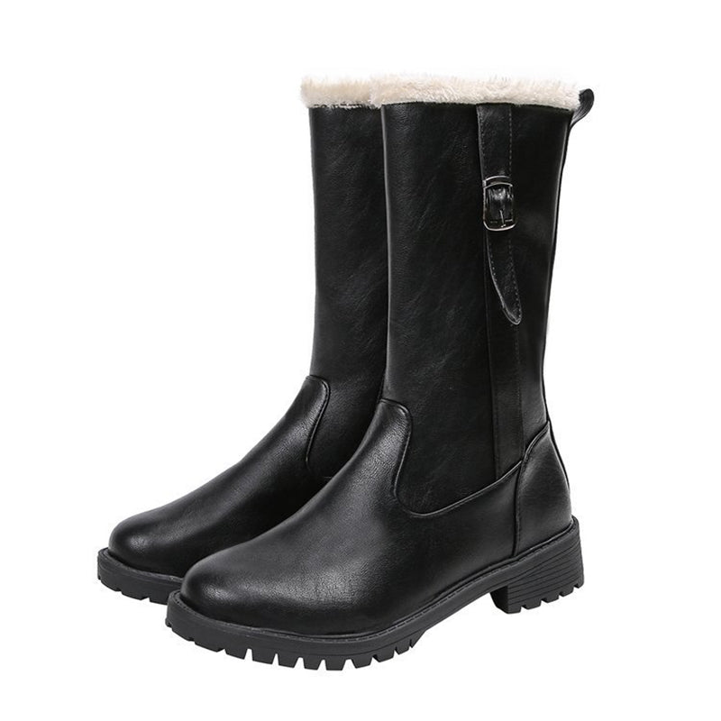 Casual Plush Lining Block Heel Riding Boots