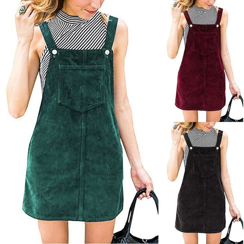 All Season Women Solid Color Corduroy Slim Strap Dresses