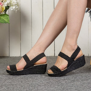 Elastic Wedge Heel Knitting Sandals