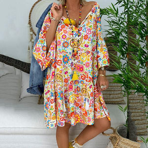 Bohemian Printed V-Neck Loose Dresses