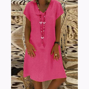 Women Solid V-Neck Plus Size Dress