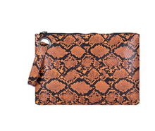 Load image into Gallery viewer, Aurora Snake Print Clutch Bag Orange