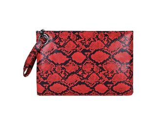 Aurora Snake Print Clutch Bag Red