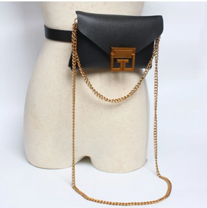 Aurora 2 in 1 Chain Belt Purse Black