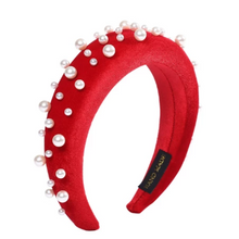 Load image into Gallery viewer, Pearl Handmade Headband Red