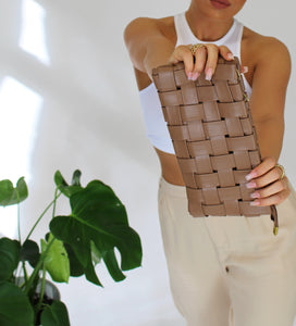 Aurora Woven Clutch Brown