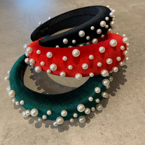 Pearl Handmade Headband Red