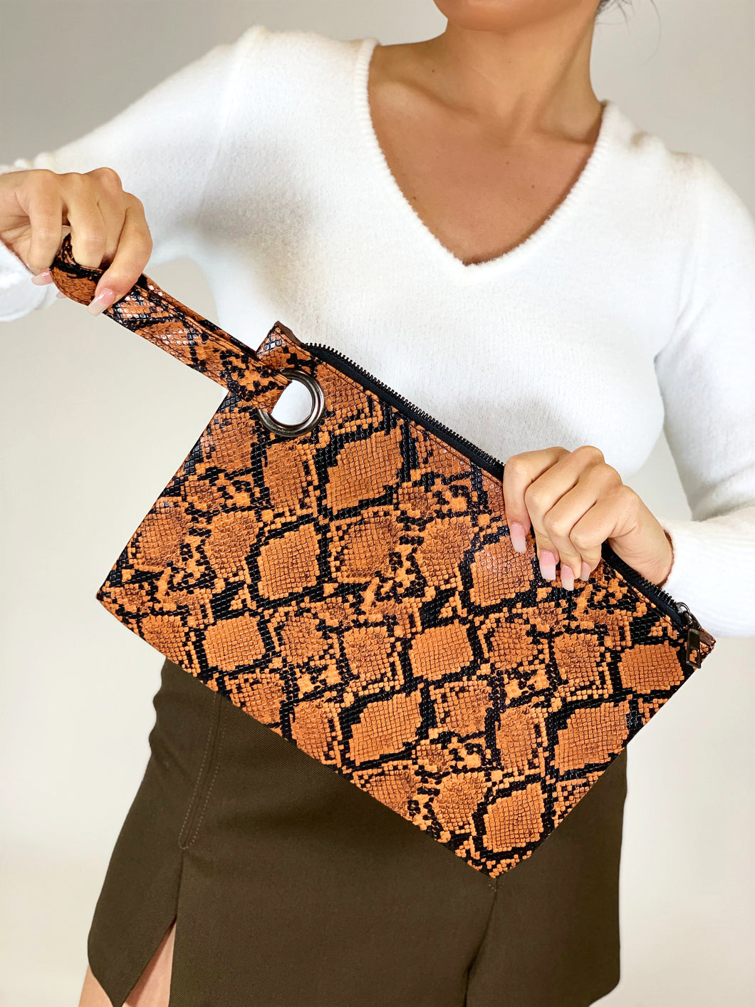 Aurora Snake Print Clutch Bag Orange