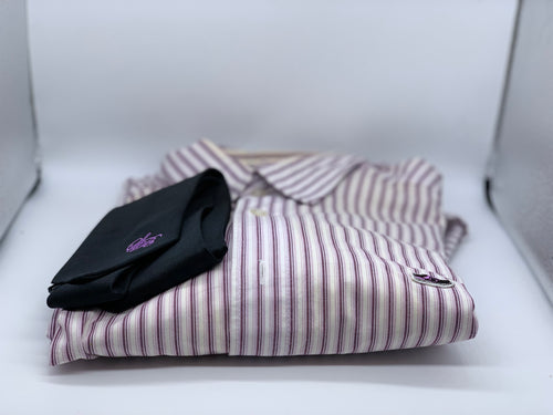 Purple avenger pin stripe shirt with tie size L