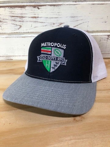 *Metropolis Old Boys Navy/White Mesh Back Hat (Stock)